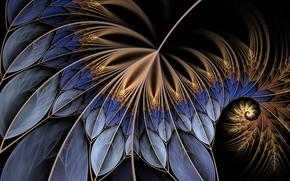 лист, листья, линии, спираль