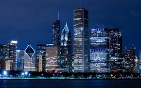 Chicago, Illinois, Stati Uniti d'America, Chicago, Illinois, Stati Uniti d'America, Grattacieli, High-edifici, casa, edificio, citt, notte, fiume