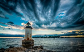 sea, lighthouse, clouds, landscape