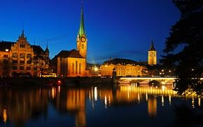 Швейцария, Река, zurich, Ночь