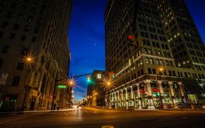Stati Uniti d'America, strada, casa, detroit, Michigan, notte, strada, hdr, urbano