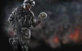 guerre, militaire, guerre : militaire, солдат, череп, война, взрыв