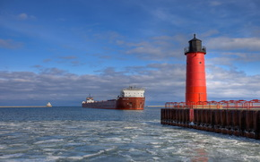 маяк, море, карабль, баржа