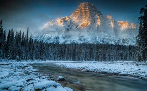 Mountains, river, forest, snow, ate, stones, Canada, Mount Chephren
