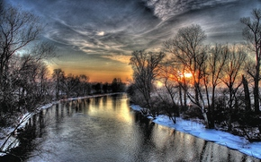sunset, Winter, river, sky, hdr