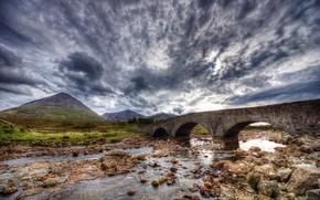 river, bridge, landscape, hdr