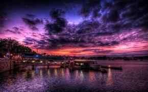 sunset, berth, karabl, lights, people