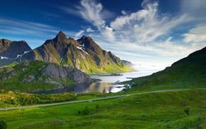 горы, дорога, озеро, пейзаж
