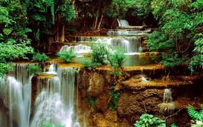 cascada, cascada, Los rboles, rocas, paisaje