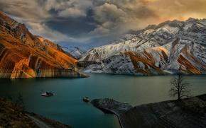 закат, озеро, горы, пейзаж