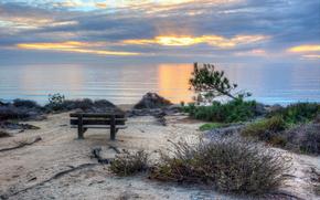 пейзаж, закат, море, лавочка
