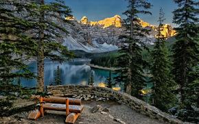 山, 湖, 长椅, 景观