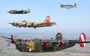 самолеты, бомбардировщик, истребитель