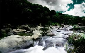 река, камни, течение