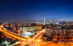 berlin, Berlin, capital, deutschland, germany, Germany, city, panorama, night, home, building, Tower, road, exposure, lights, machinery