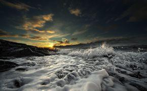 вода, волны, пена, камни, солнце, горизонт