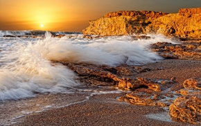 sea, waves, spray, stones, rocks, sun, sunset