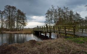 rzeka, most, krajobraz