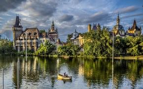 budapest, Budapest, Hungary, vajdahunyad, castle, Trees, nature, park, lake, boat, people