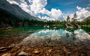 lago, Montagne, obloka, paesaggio