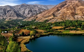 ovan lake, iran, lake, village, mountains, trees