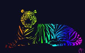 абстракция, 3d, art, тигр