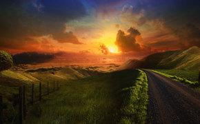 droga, pikne obloka, pole, Centra, zielone pola, ki, natura, oranzhivoe niebo, soce, rano, wschd soca, zachd soca, drzew