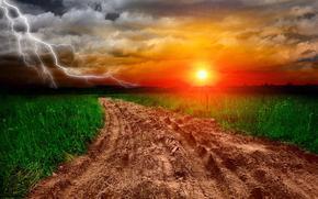 sunset, lightning, road, landscape