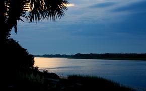 tramonto, fiume, sagome di alberi
