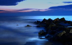 mare, tramonto, pietre, paesaggio