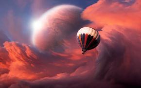 Небо, облака, планета, воздушный, шар, полет
