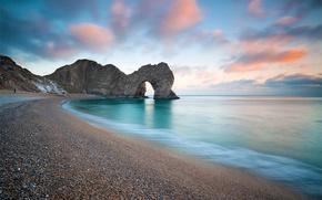 landscape, sea, rocks, sky, clouds, arch, beach