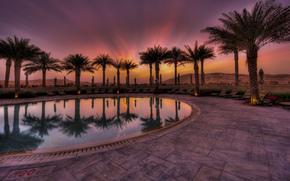 abu dhabi, Абу-Даби, ОАЭ, город, отель, бассейн, вечер, закат, пустыня, пальмы