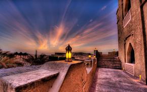 Hamim, abu dhabi, Abu Dhabi, mirats arabes unis, htel, soire, coucher du soleil, lumires, paume