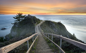 united states, california, mill valley, sunset, sea, landscape