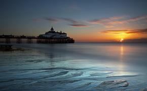 Inglaterra, eastbourne, mar, puesta del sol, paisaje