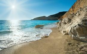 Grecia, costa, mare, sole, sabbia, rock, paesaggio