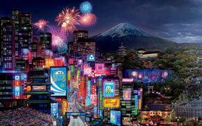 cars 2, tokio drift, walt disney, pixar, animated film, racing, sport, mcqueen, world grand prix, Cars 2, Tokyo Drift, Walt Disney, Cartoon, Tokyo, city, lights, building, salute, volcano, Fuji, mountain, Sport, race, machinery, track, World Grand Prix,