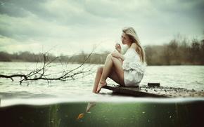 girl, золотая рыбка, lake
