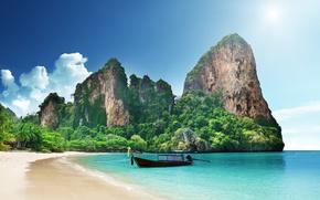 tropics, paradise, coast, rocks, sea, sand, boat