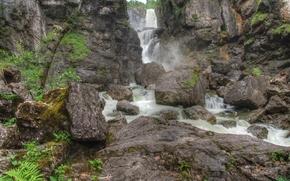 Wasserfall, Felsen, Landschaft