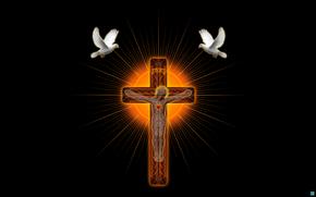крест, святыня, голуби, 3d, art
