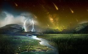 lightning, Kamet, field, river