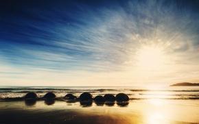 new zealand, New Zealand, ocean, Sunrise, stones