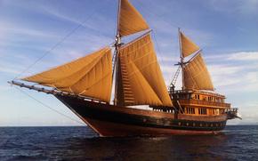 океан, парусник, яхта, паруса, путешествие, отдых