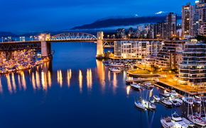 canada, vancouver, cities, night, Canada, vancouver, evening, home, Mountains, forest, Port, wharf, Yacht, boats, bridge.
