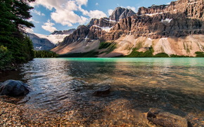canada, nature, Канада, горы, снег, река, камни, деревья