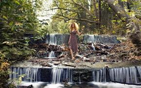 girl, river, waterfall