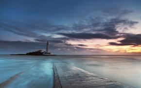 море, маяк, св Марии, вечер, закат