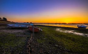baia, Yacht, Barche, orizzonte, sole, tramonto